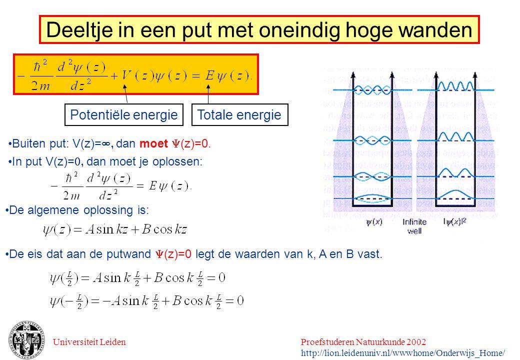 Universiteit LeidenProefstuderen Natuurkunde 2002 http://lion.leidenuniv.nl/wwwhome/Onderwijs_Home/ Deeltje in een put met oneindig hoge wanden Totale