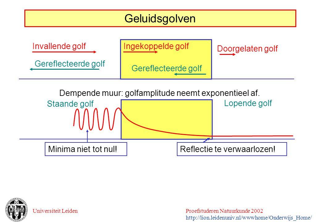 Universiteit LeidenProefstuderen Natuurkunde 2002 http://lion.leidenuniv.nl/wwwhome/Onderwijs_Home/ Geluidsgolven Invallende golf Gereflecteerde golf