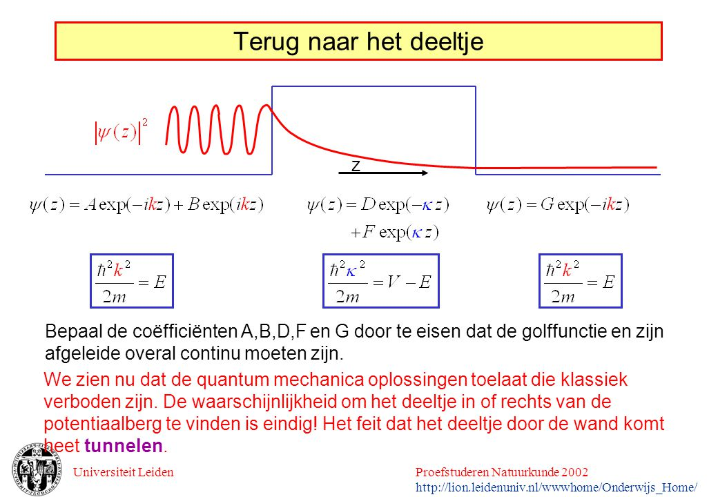 Universiteit LeidenProefstuderen Natuurkunde 2002 http://lion.leidenuniv.nl/wwwhome/Onderwijs_Home/ Terug naar het deeltje z Bepaal de coëfficiënten A