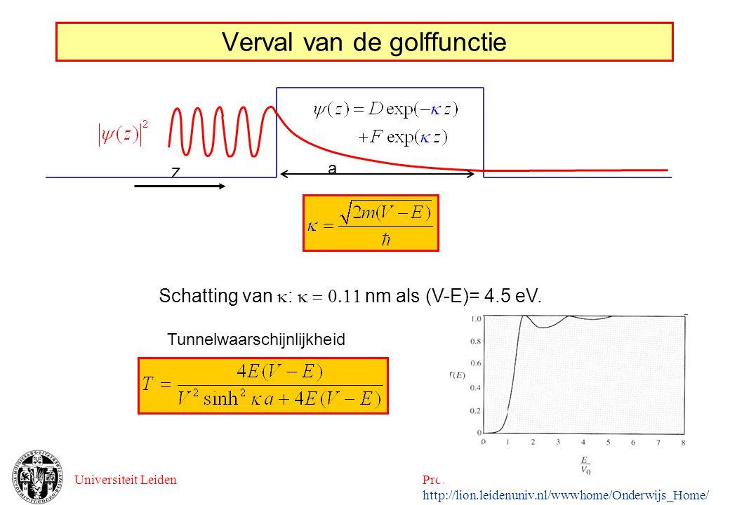 Universiteit LeidenProefstuderen Natuurkunde 2002 http://lion.leidenuniv.nl/wwwhome/Onderwijs_Home/ Verval van de golffunctie z Schatting van  : 