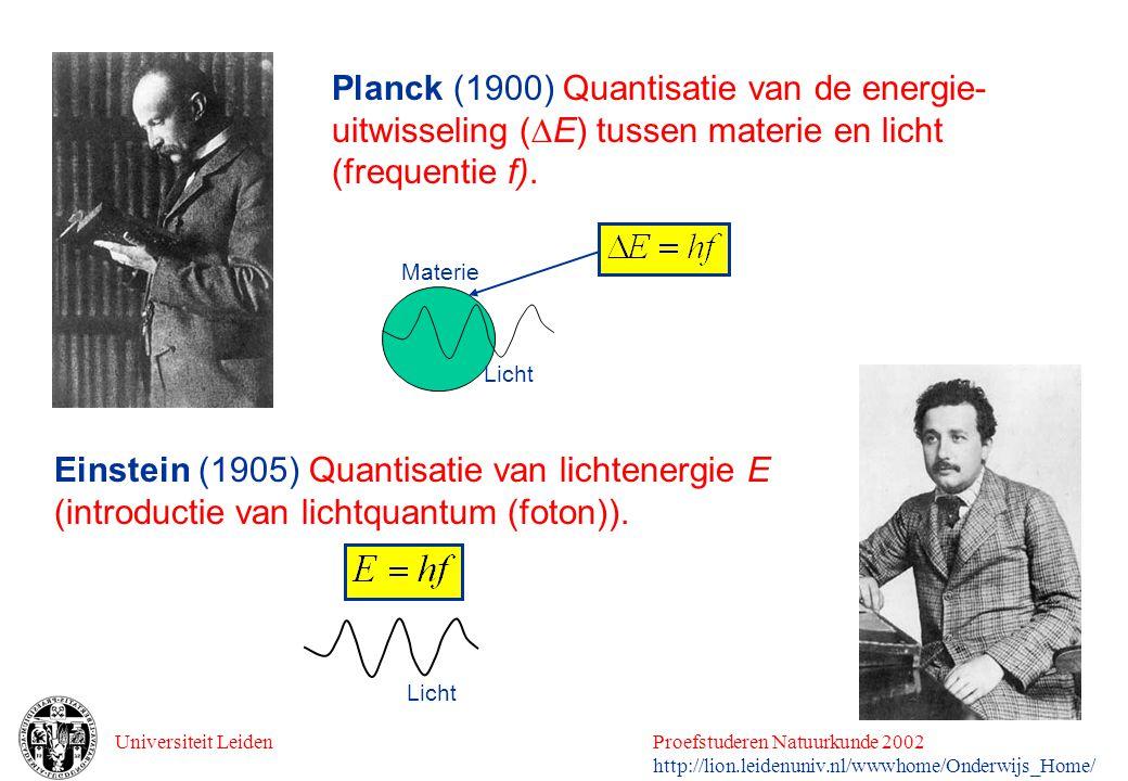 Universiteit LeidenProefstuderen Natuurkunde 2002 http://lion.leidenuniv.nl/wwwhome/Onderwijs_Home/ Planck (1900) Quantisatie van de energie- uitwisse