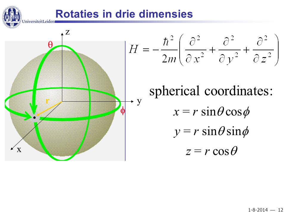 1-8-2014  12 Rotaties in drie dimensies x y z r spherical coordinates: x = r sin  cos  y = r sin  sin  z = r cos 