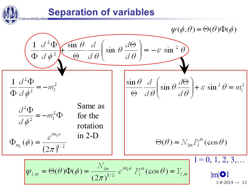 1-8-2014  13 Separation of variables Same as for the rotation in 2-D l = 0, 1, 2, 3,… |m|  l
