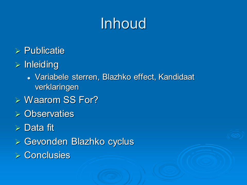 Inhoud  Publicatie  Inleiding Variabele sterren, Blazhko effect, Kandidaat verklaringen Variabele sterren, Blazhko effect, Kandidaat verklaringen  Waarom SS For.