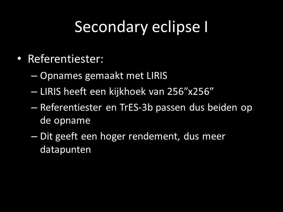 Secondary eclipse I Referentiester: – Opnames gemaakt met LIRIS – LIRIS heeft een kijkhoek van 256 x256 – Referentiester en TrES-3b passen dus beiden op de opname – Dit geeft een hoger rendement, dus meer datapunten