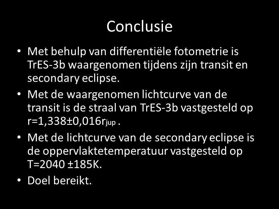 Conclusie Met behulp van differentiële fotometrie is TrES-3b waargenomen tijdens zijn transit en secondary eclipse.