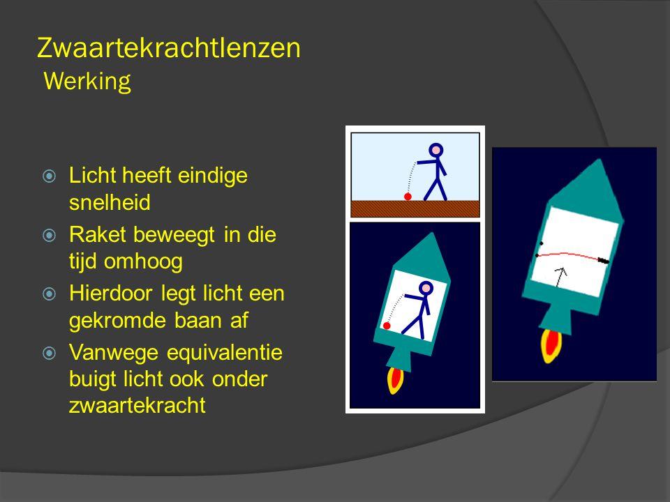 Zwaartekrachtlenzen Werking  Licht heeft eindige snelheid  Raket beweegt in die tijd omhoog  Hierdoor legt licht een gekromde baan af  Vanwege equivalentie buigt licht ook onder zwaartekracht