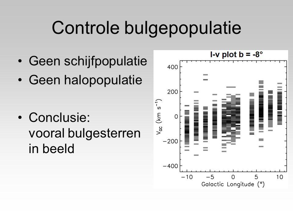 Controle bulgepopulatie Geen schijfpopulatie Geen halopopulatie Conclusie: vooral bulgesterren in beeld