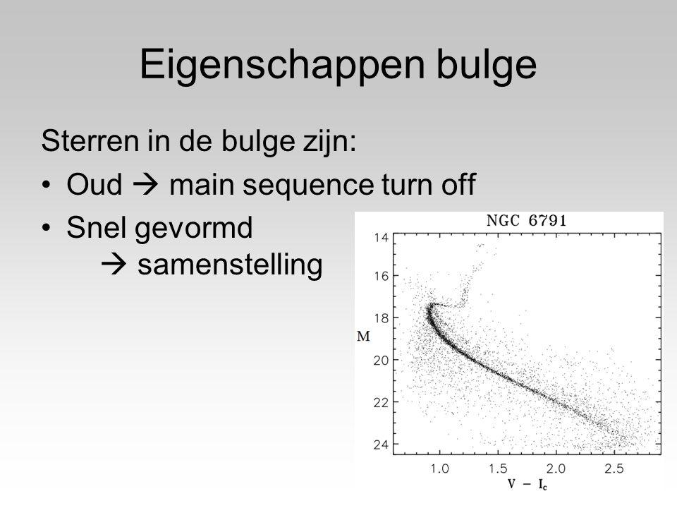 Eigenschappen bulge Sterren in de bulge zijn: Oud  main sequence turn off Snel gevormd  samenstelling