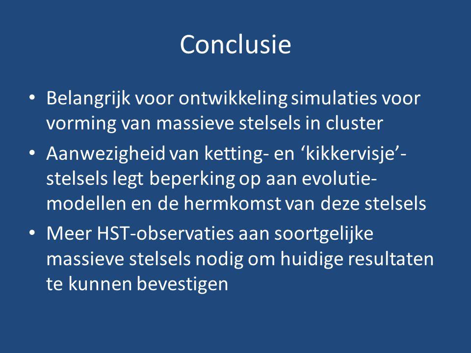 Conclusie Belangrijk voor ontwikkeling simulaties voor vorming van massieve stelsels in cluster Aanwezigheid van ketting- en 'kikkervisje'- stelsels l