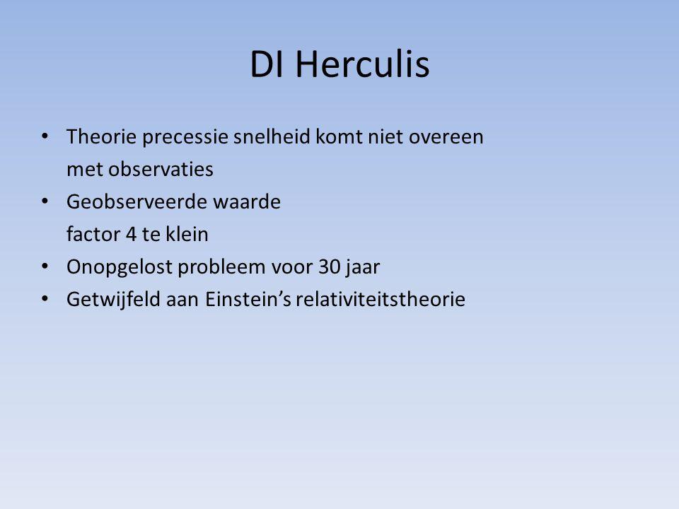 DI Herculis Theorie precessie snelheid komt niet overeen met observaties Geobserveerde waarde factor 4 te klein Onopgelost probleem voor 30 jaar Getwijfeld aan Einstein's relativiteitstheorie