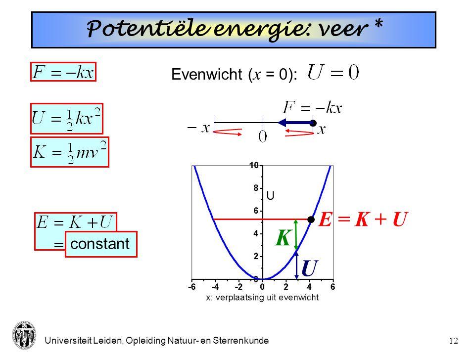 Universiteit Leiden, Opleiding Natuur- en Sterrenkunde11 Potentiële energie: veer  Evenwicht ( x = 0): Massa aan een veer: (Hooke's law)
