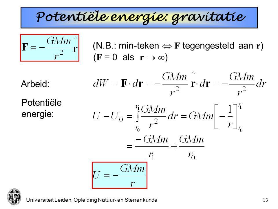 Universiteit Leiden, Opleiding Natuur- en Sterrenkunde12 Potentiële energie: veer * E = K + U U K Evenwicht ( x = 0): constant