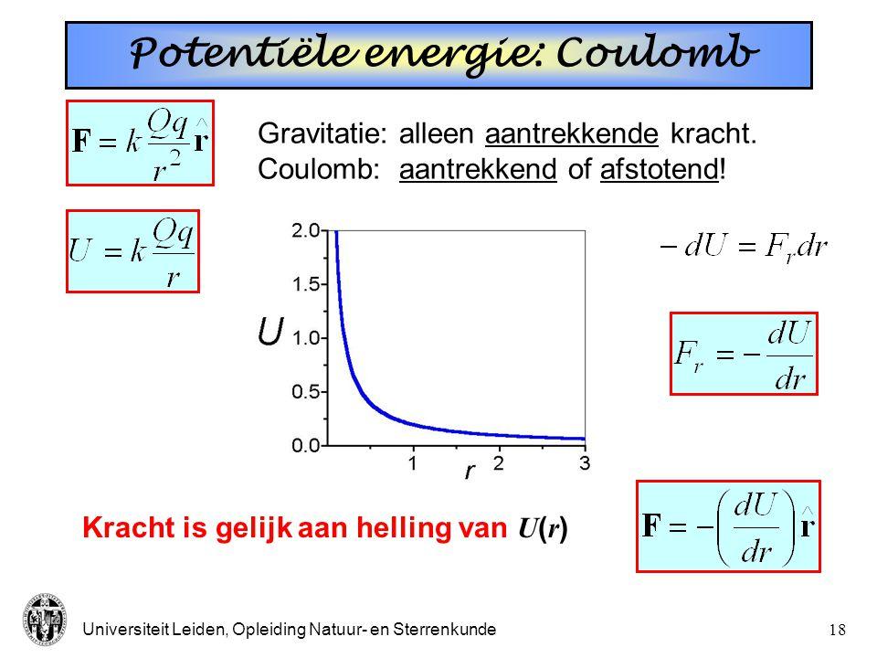 Universiteit Leiden, Opleiding Natuur- en Sterrenkunde17 Sateliet *  Ontsnappingssnelheid: onafh. van massa!! 40,200 km/h