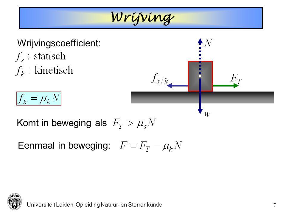 Universiteit Leiden, Opleiding Natuur- en Sterrenkunde7 Wrijving Wrijvingscoefficient: Komt in beweging als Eenmaal in beweging:
