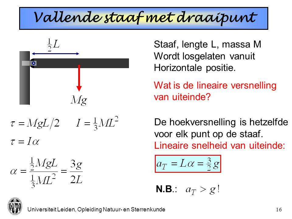Universiteit Leiden, Opleiding Natuur- en Sterrenkunde15 Op een hellend vlak. Wat rolt sneller: Hol  massief? Grote  kleine R Zwaar  licht? h straa