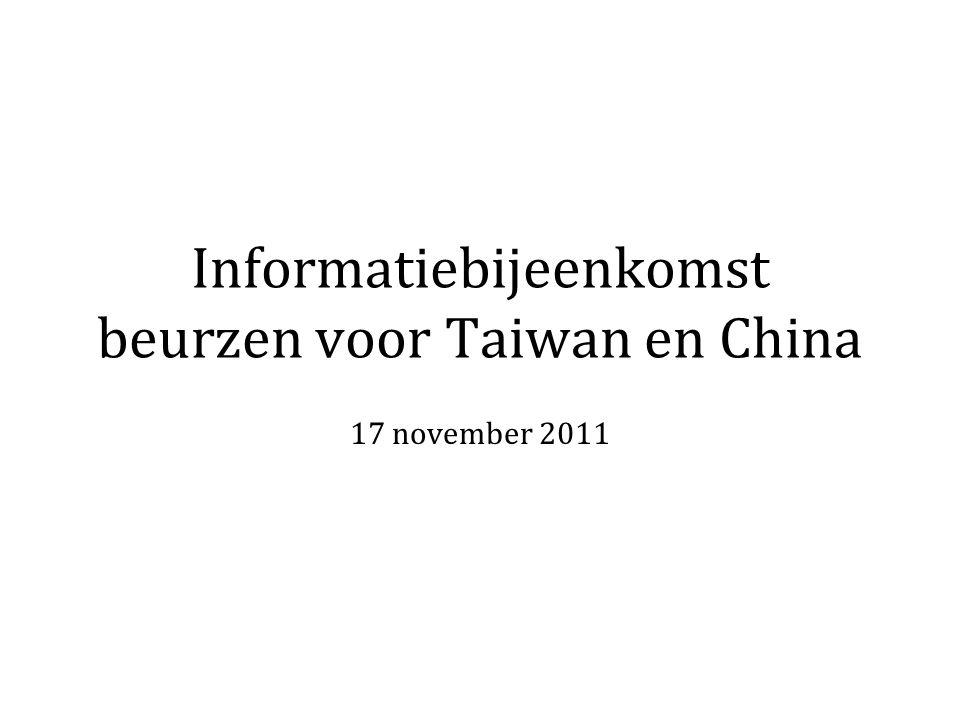 De China- en TaiwanCie selecteert en draagt de geselecteerde Taiwan-kandidaten voor bij International Relations and Scholarships (UL) helpt bij het samenstellen van het aanvraagdossier Nuffic De definitieve selectie en toelating berust bij de universiteiten in Taiwan en voor China bij het Nuffic en uiteindelijk de China Scolarship Council (CSC)