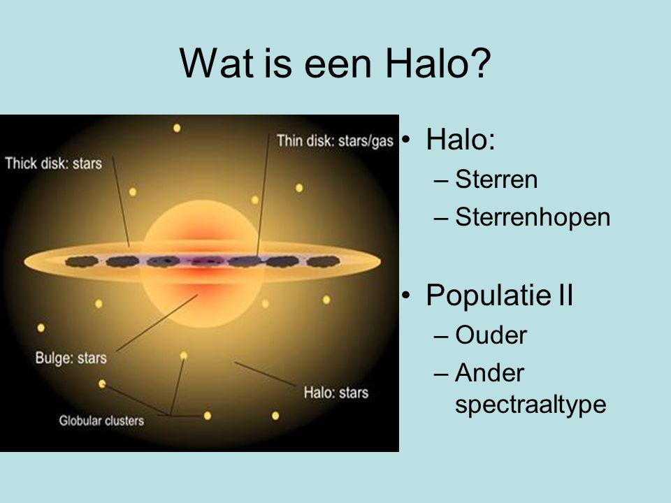 Wat is een Halo Halo: –Sterren –Sterrenhopen Populatie II –Ouder –Ander spectraaltype