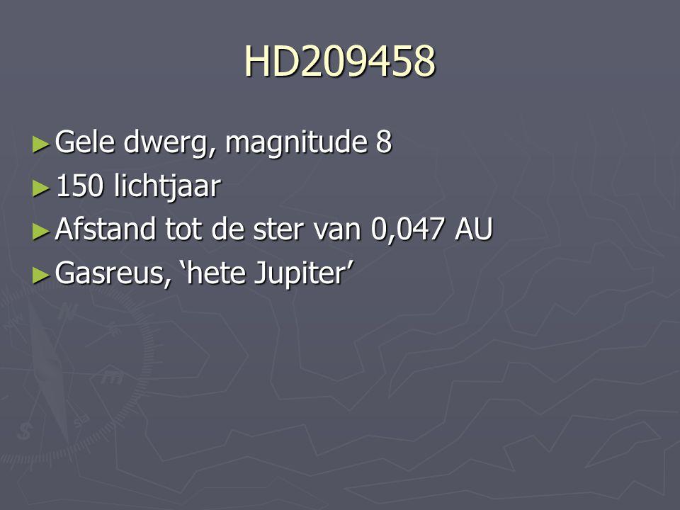 HD209458 ► Gele dwerg, magnitude 8 ► 150 lichtjaar ► Afstand tot de ster van 0,047 AU ► Gasreus, 'hete Jupiter'