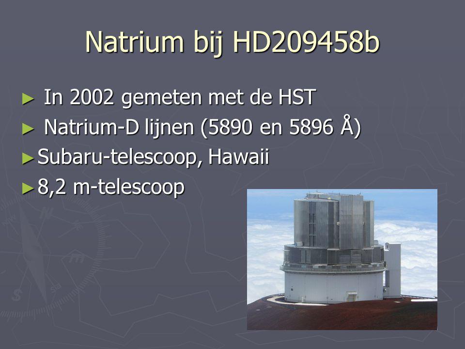 Natrium bij HD209458b ► In 2002 gemeten met de HST ► Natrium-D lijnen (5890 en 5896 Å) ► Subaru-telescoop, Hawaii ► 8,2 m-telescoop
