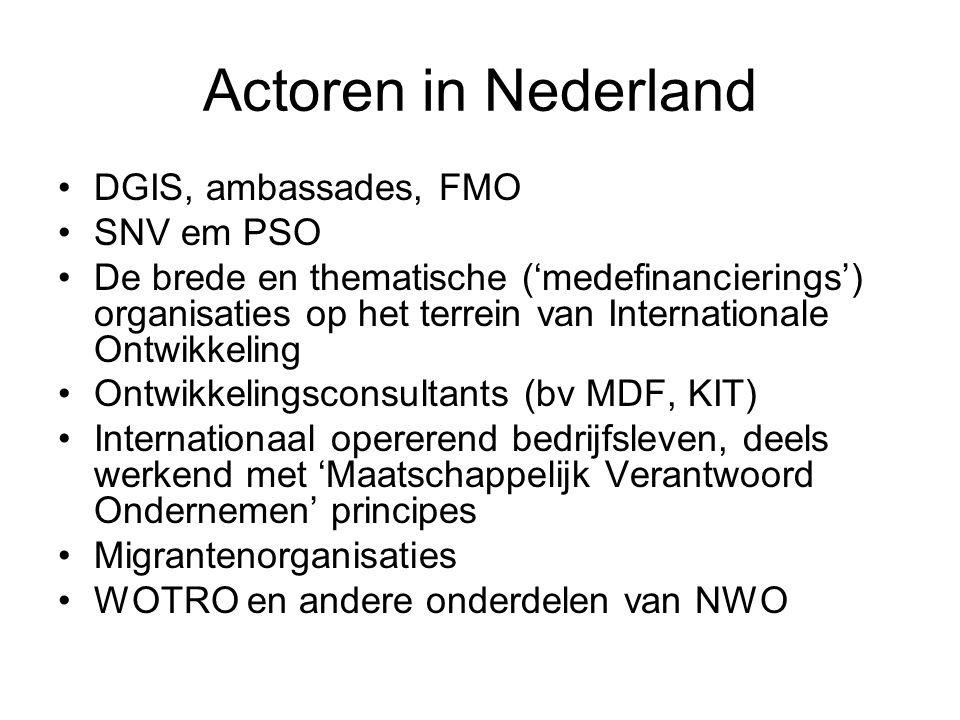 Actoren in Nederland DGIS, ambassades, FMO SNV em PSO De brede en thematische ('medefinancierings') organisaties op het terrein van Internationale Ont