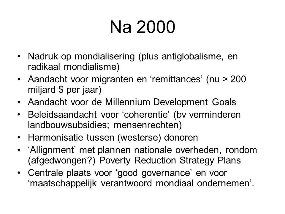 Na 2000 Nadruk op mondialisering (plus antiglobalisme, en radikaal mondialisme) Aandacht voor migranten en 'remittances' (nu > 200 miljard $ per jaar)