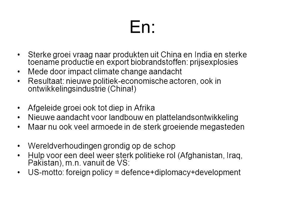 En: Sterke groei vraag naar produkten uit China en India en sterke toename productie en export biobrandstoffen: prijsexplosies Mede door impact climat