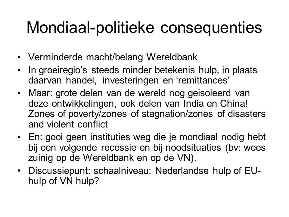 Mondiaal-politieke consequenties Verminderde macht/belang Wereldbank In groeiregio's steeds minder betekenis hulp, in plaats daarvan handel, investeri