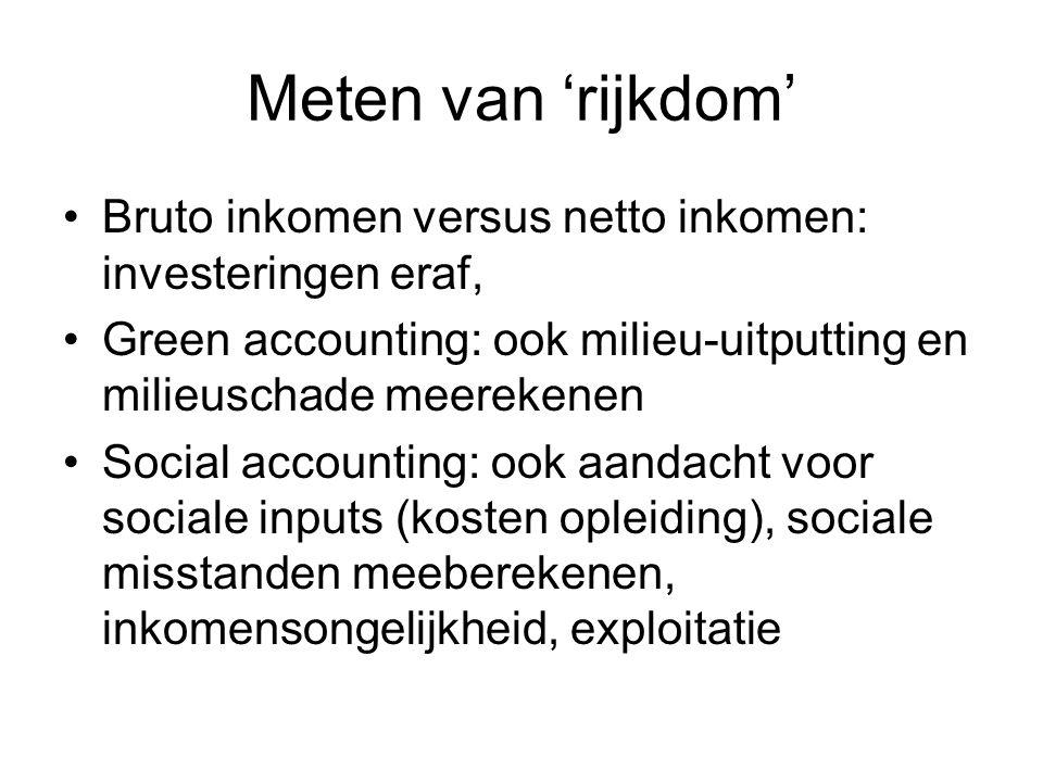 Meten van 'rijkdom' Bruto inkomen versus netto inkomen: investeringen eraf, Green accounting: ook milieu-uitputting en milieuschade meerekenen Social