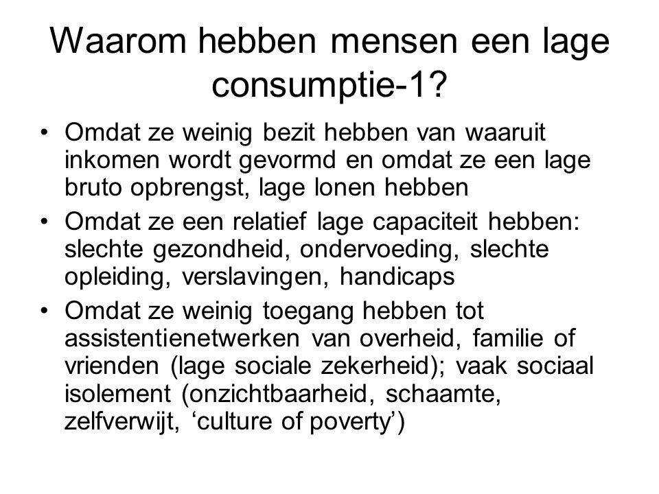 Waarom hebben mensen een lage consumptie-1? Omdat ze weinig bezit hebben van waaruit inkomen wordt gevormd en omdat ze een lage bruto opbrengst, lage