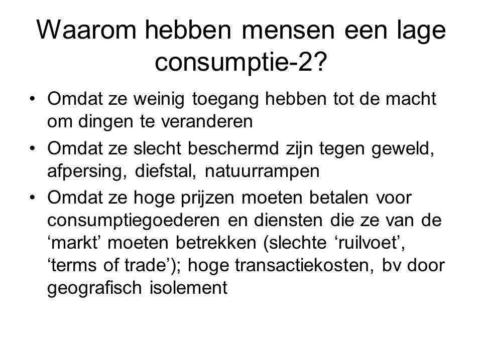 Waarom hebben mensen een lage consumptie-2? Omdat ze weinig toegang hebben tot de macht om dingen te veranderen Omdat ze slecht beschermd zijn tegen g