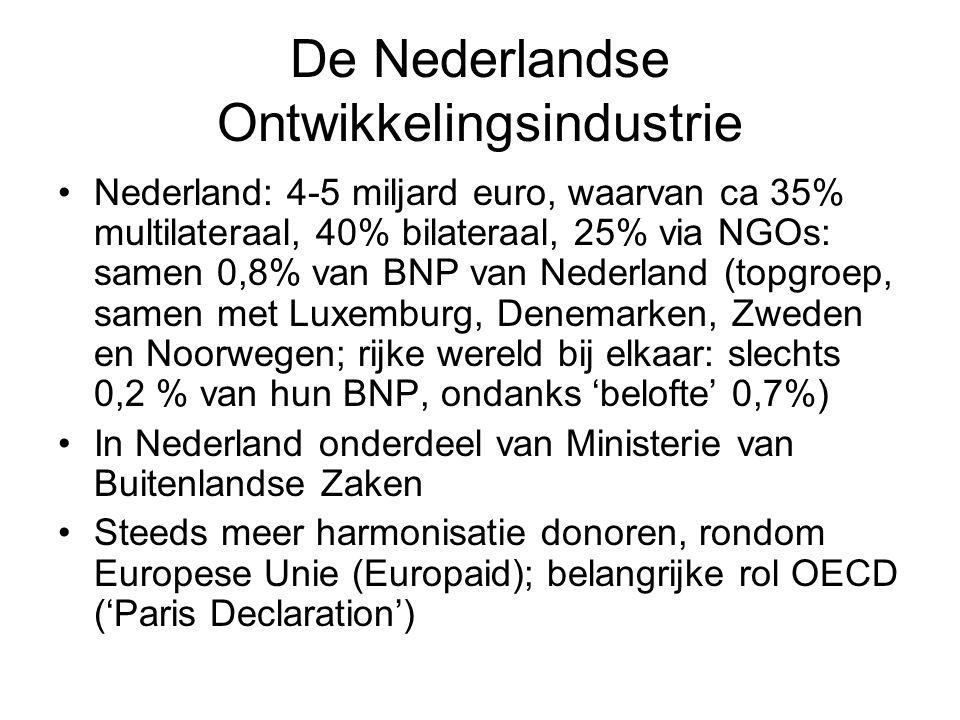 De Nederlandse Ontwikkelingsindustrie Nederland: 4-5 miljard euro, waarvan ca 35% multilateraal, 40% bilateraal, 25% via NGOs: samen 0,8% van BNP van