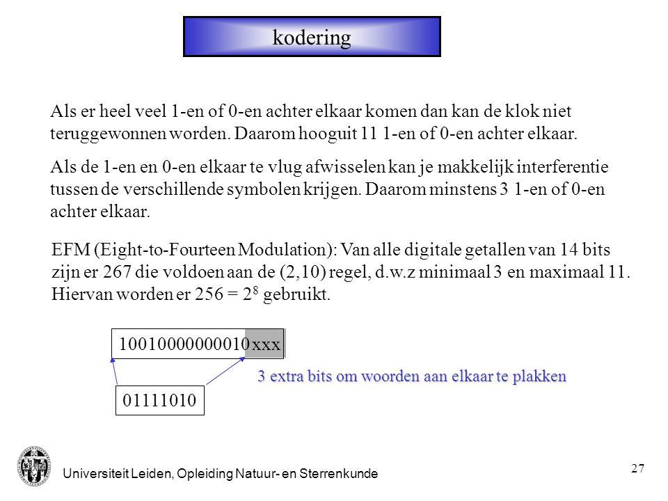 Universiteit Leiden, Opleiding Natuur- en Sterrenkunde 28 DAC (1 bit) 2R V uit - + VRVR 10 - + i1i1 i in s 1 =0,1 Een OpAmp probeert de ingangen op dezelfde spanning te houden DAC=Digital Analog Converter