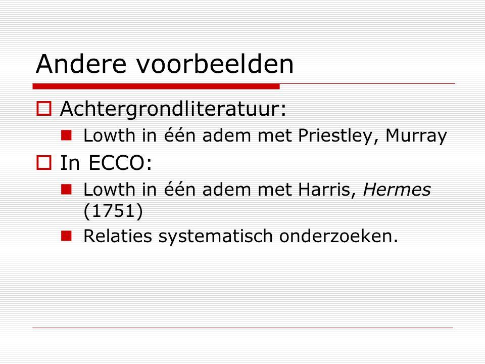 Andere voorbeelden  Achtergrondliteratuur: Lowth in één adem met Priestley, Murray  In ECCO: Lowth in één adem met Harris, Hermes (1751) Relaties systematisch onderzoeken.