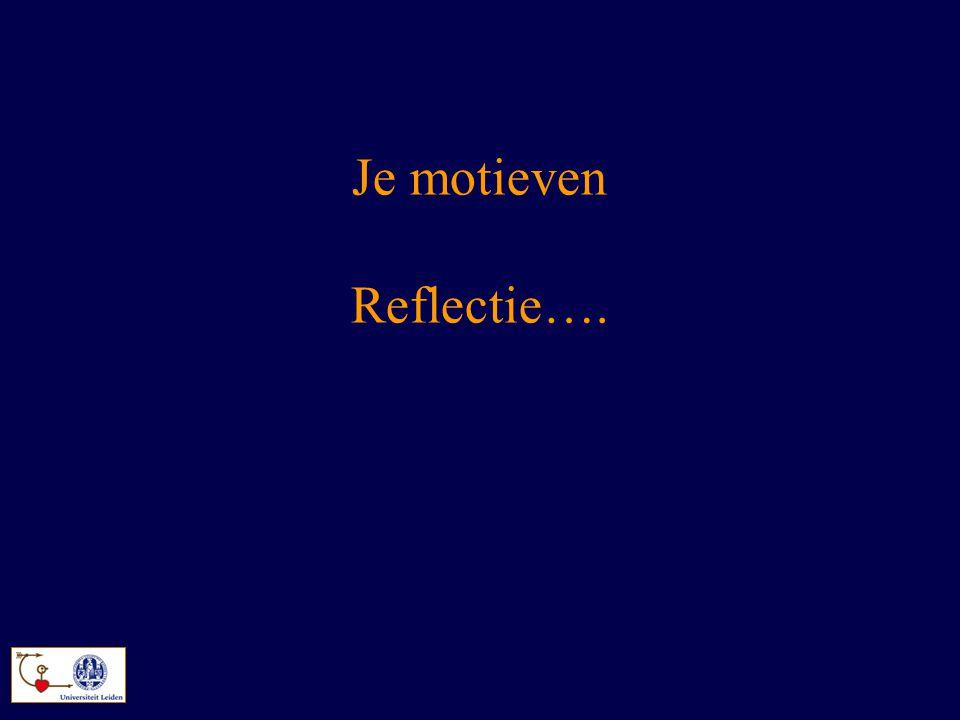 Je motieven Reflectie….