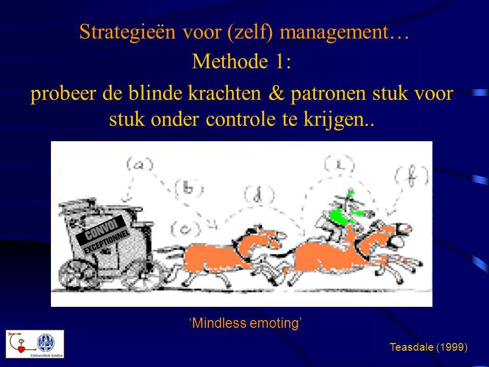 Strategieën voor (zelf) management… Methode 1: probeer de blinde krachten & patronen stuk voor stuk onder controle te krijgen.. 'Mindless emoting' Tea