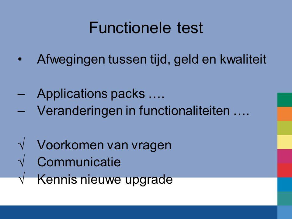 Functionele test Afwegingen tussen tijd, geld en kwaliteit –Applications packs ….