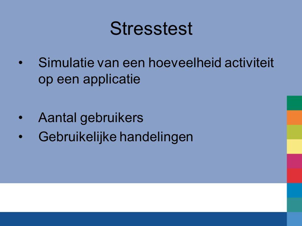 Stresstest Simulatie van een hoeveelheid activiteit op een applicatie Aantal gebruikers Gebruikelijke handelingen
