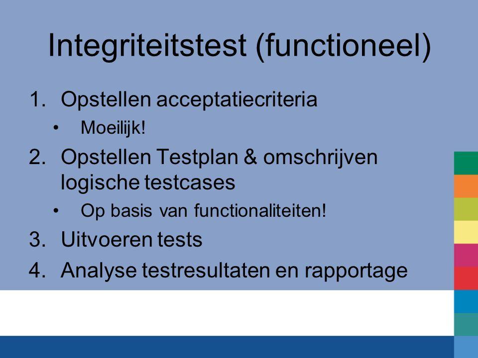 Integriteitstest (functioneel) 1.Opstellen acceptatiecriteria Moeilijk.