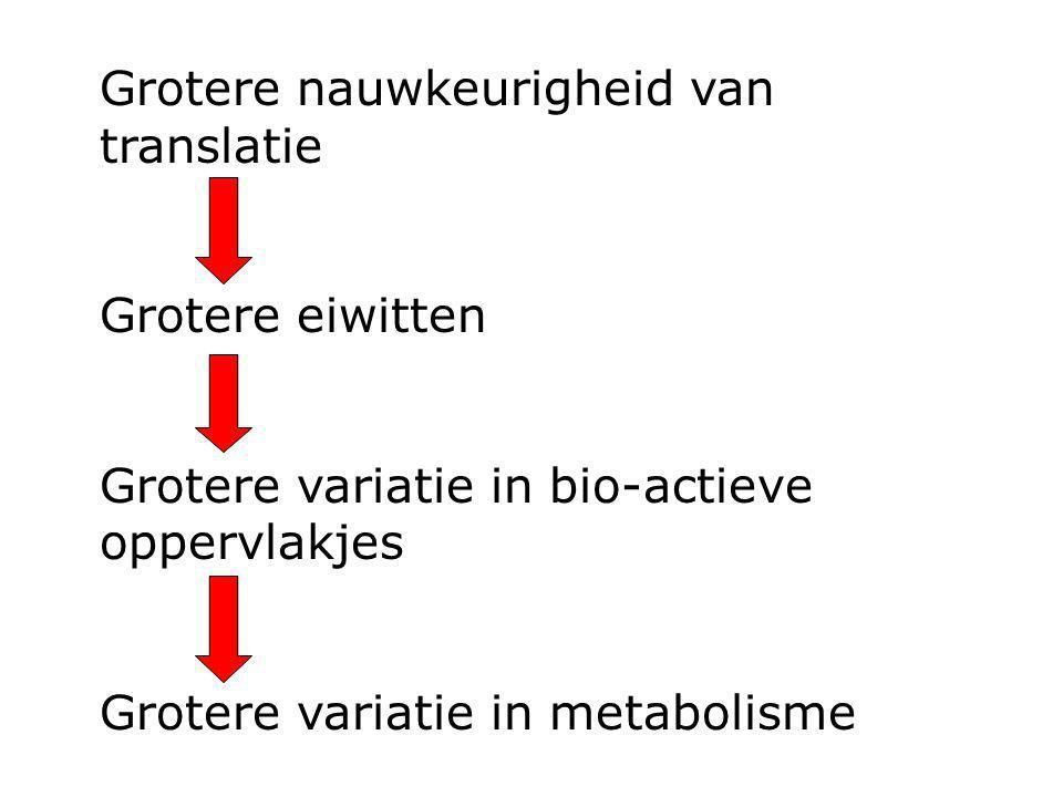 Grotere nauwkeurigheid van translatie Grotere eiwitten Grotere variatie in bio-actieve oppervlakjes Grotere variatie in metabolisme