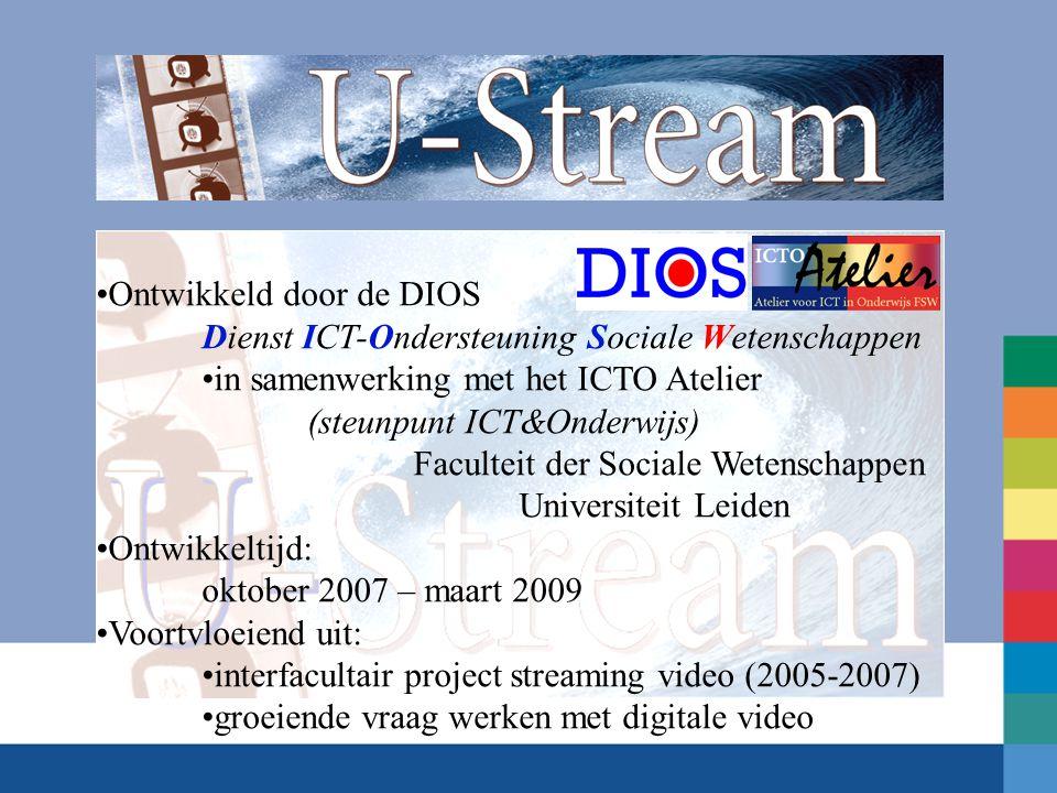 Ontwikkeld door de DIOS Dienst ICT-Ondersteuning Sociale Wetenschappen in samenwerking met het ICTO Atelier (steunpunt ICT&Onderwijs) Faculteit der So
