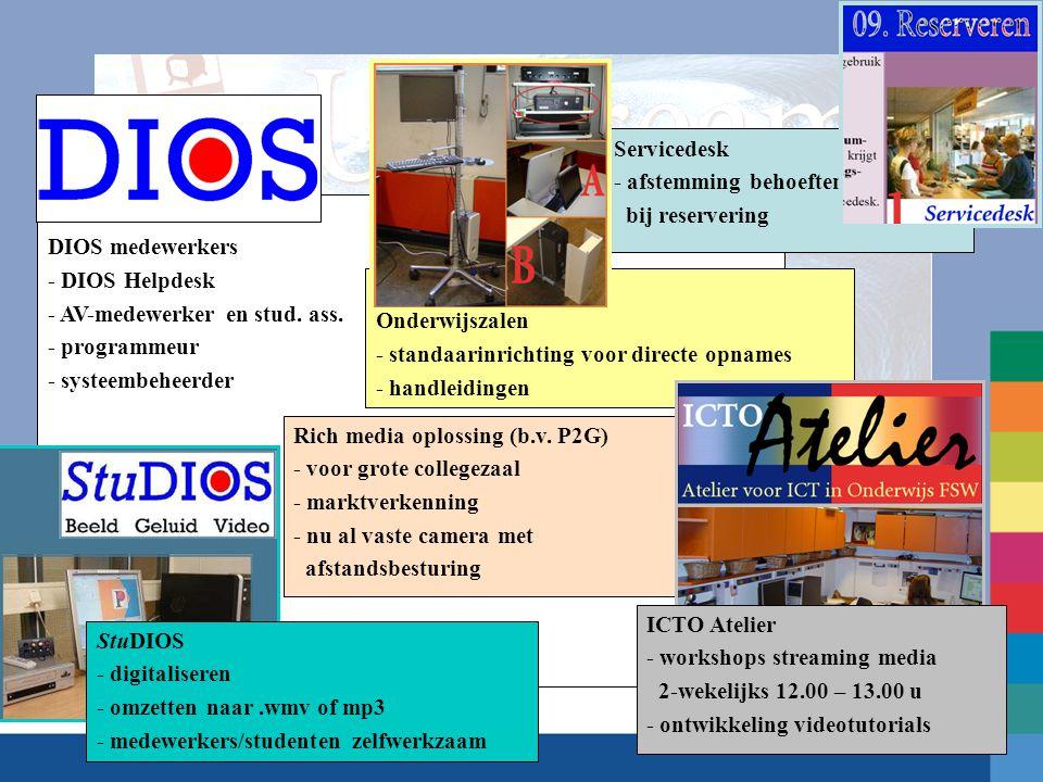 DIOS medewerkers - DIOS Helpdesk - AV-medewerker en stud. ass. - programmeur - systeembeheerder Servicedesk - afstemming behoeften bij reservering Stu