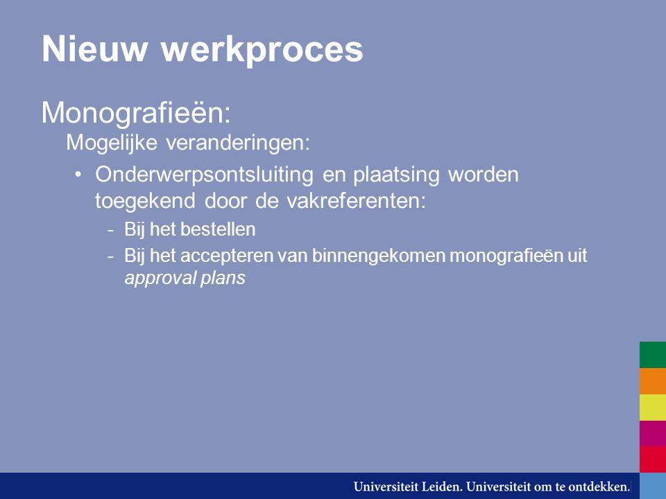 Nieuw werkproces Monografieën: Mogelijke veranderingen: Onderwerpsontsluiting en plaatsing worden toegekend door de vakreferenten: -Bij het bestellen