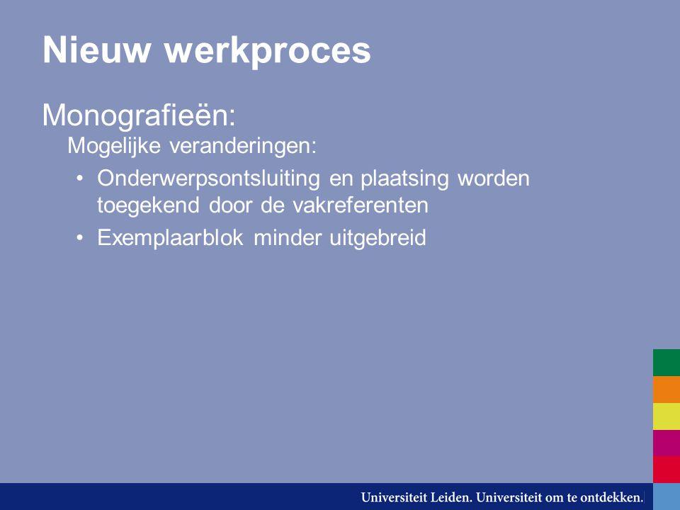 Nieuw werkproces Monografieën: Mogelijke veranderingen: Onderwerpsontsluiting en plaatsing worden toegekend door de vakreferenten Exemplaarblok minder uitgebreid