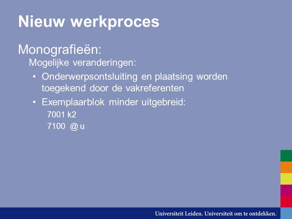 Nieuw werkproces Monografieën: Mogelijke veranderingen: Onderwerpsontsluiting en plaatsing worden toegekend door de vakreferenten Exemplaarblok minder uitgebreid: 7001 k2 7100 @ u