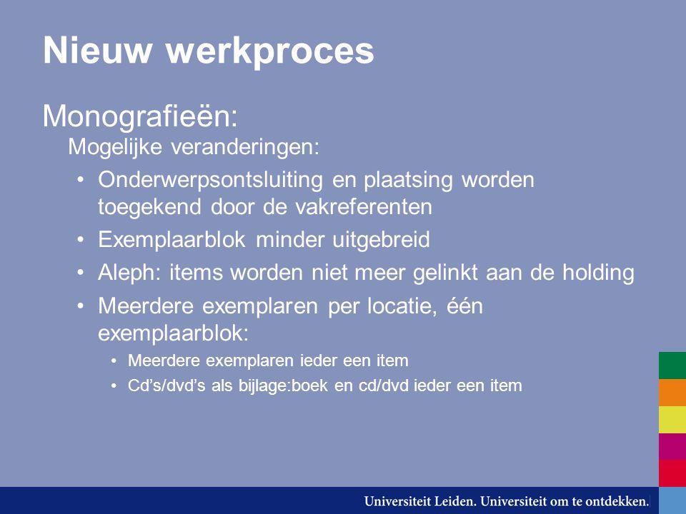Nieuw werkproces Monografieën: Mogelijke veranderingen: Onderwerpsontsluiting en plaatsing worden toegekend door de vakreferenten Exemplaarblok minder