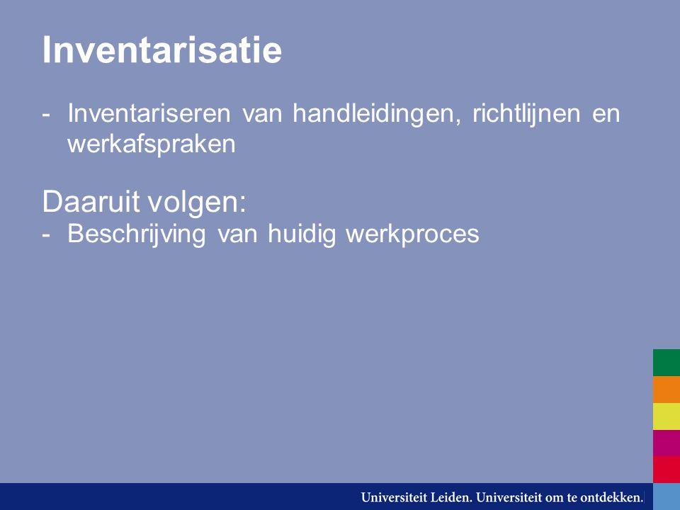 Inventarisatie -Inventariseren van handleidingen, richtlijnen en werkafspraken Daaruit volgen: -Beschrijving van huidig werkproces -Beschrijving van (nieuw) voorlopig werkproces