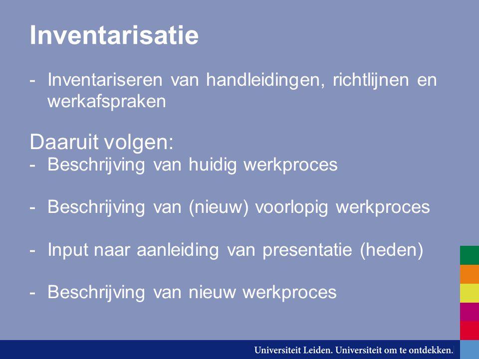 Inventarisatie -Inventariseren van handleidingen, richtlijnen en werkafspraken Daaruit volgen: -Beschrijving van huidig werkproces -Beschrijving van (