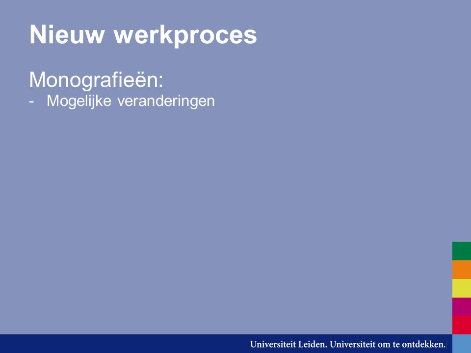 Nieuw werkproces Monografieën: Mogelijke veranderingen: Onderwerpsontsluiting en plaatsing worden toegekend door de vakreferenten