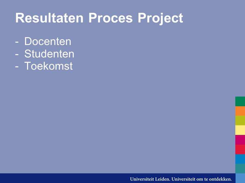 Resultaten Proces Project -Docenten -Studenten -Toekomst
